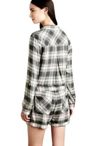 Anthropologie Relax Romper Medium 6 8 Grey Plaid COMFY Pockets Stretch Waist NWT