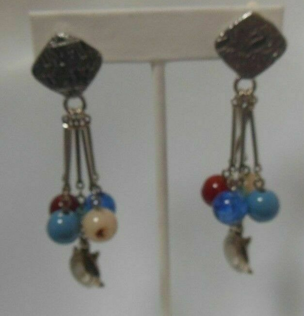 Primary image for Vintage Signed LCI Silver-tone Dangle Glass Bead Turtle Clip-On Earrings