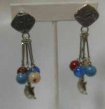Vintage Signed LCI Silver-tone Dangle Glass Bead Turtle Clip-On Earrings - $28.70