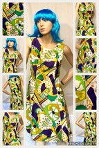 Vintage 60s Mod Mini Dress  Psychedelic Size 6-8Green & Purple-Fit & Fla... - $70.13