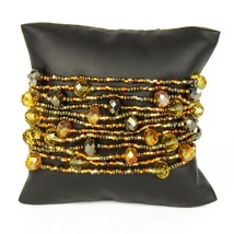 "#BR146 12 Strand Amber Crystals Czech Glass Bracelet Magnetic Clasp 7.5""... - $14.80"