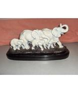 Vintage White On Metal Elephant Herd Sculpture Statue Figurine Thailand - $222.75