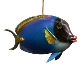 Tropical Blue Fish Christmas Ornament TFO06 Painted Resin 6 Inches - $19.96