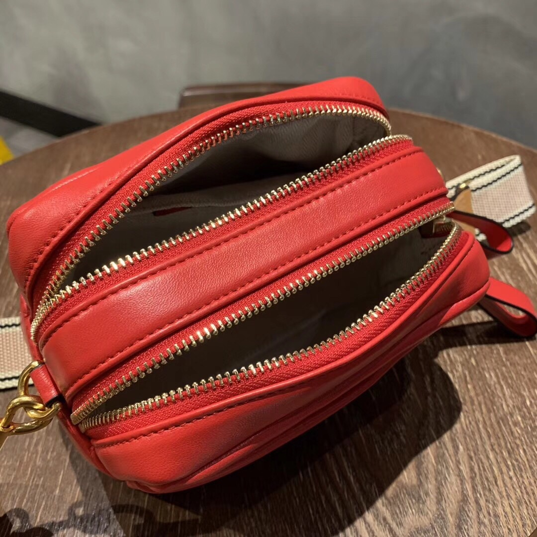 Tory Burch Perry Color-Block Double-Zip Mini Bag Red