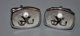 "Signed SWANK Silver Toned 7/8"" Crossed Golf Club & Ball Cuff Links  - $14.25"