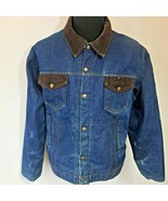 Vintage Key Imperial Denim Chore Jacket size XL 52 Red Lined Corduroy Co... - $59.95