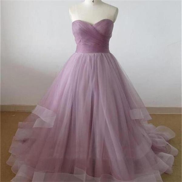 Lilac sweetheart a line cheap party evening long organza prom dresses online pd0125