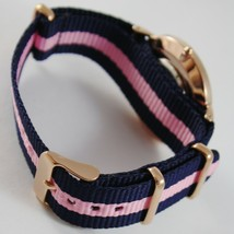 CAPITAL WATCH QUARTZ MOVEMENT 36 MM ROSE CASE BLUE AND PINK FABRIC BAND VINTAGE image 2