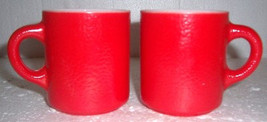 Vintage (2) Anchor Hocking Fire King Red Color Milk Glass Mugs - $21.99