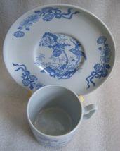 COPELAND SPODE BLUE ON BLUE CHINOISERIE TRANSFERWARE DEMITASSE CUP SAUCE... - $22.27
