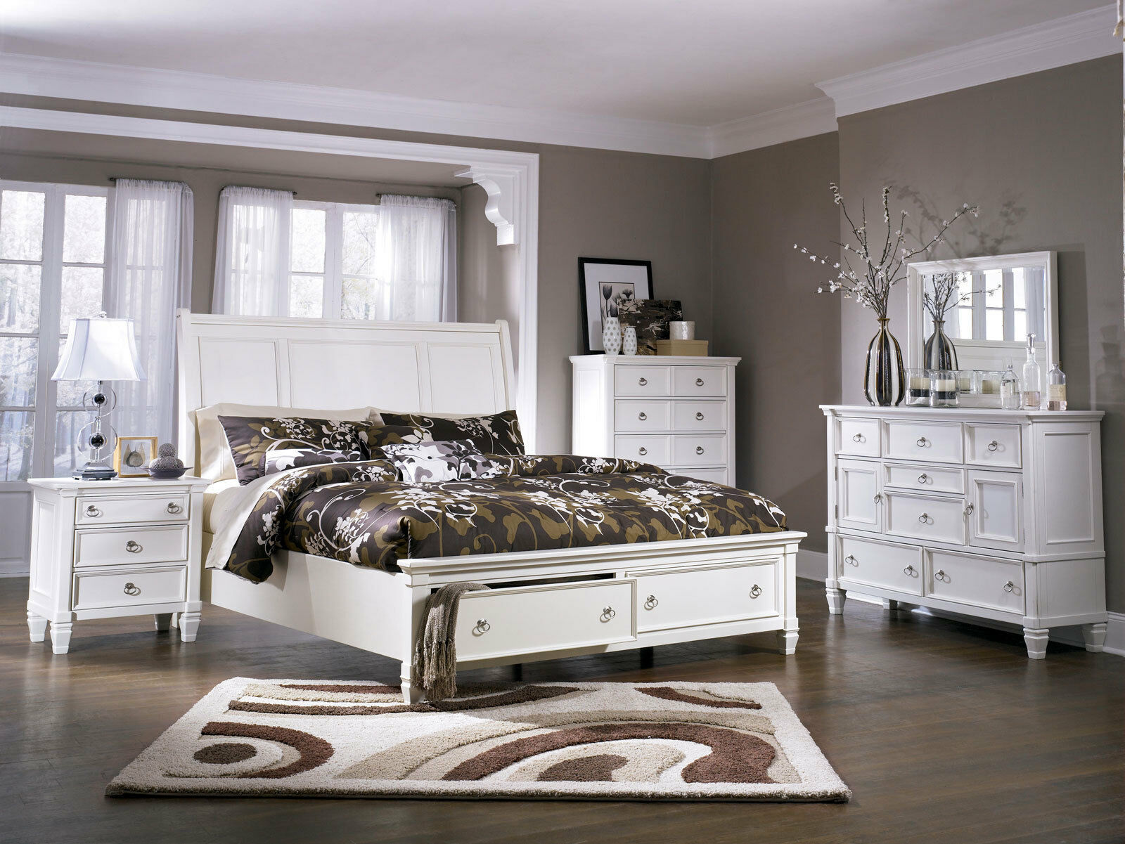 Traditional cottage white bedroom furniture sorell 5pcs - Traditional white bedroom furniture ...