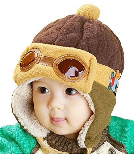 Cute Winter Warmth Flight Hat Baby Ears Protection Hat Coffee, 10-48 Months