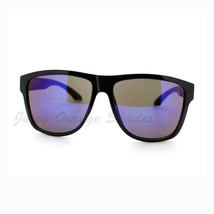 KUSH Sunglasses Oversized Square Black Frame Multicolor Mirror Lens - $9.95