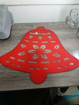 2 Christmas House Red Christmas Bell decoration, placemat Felt w/ Glitter - $13.67