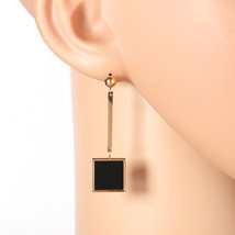 Stylish Rose Tone Designer Drop Earrings, Jet Black Inlay & Dangling Square - $17.99