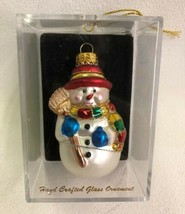 Snowman Ornament Hand Crafted Glass Red Hat Broom Glitter Gold Cap Plast... - $12.82