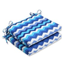 Pillow Perfect Outdoor Panama Wave Squared Corners Seat Cushion, Azure, ... - £33.46 GBP