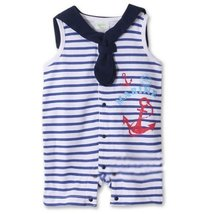 Lovely Boys' Baby Clothes Infant Bodysuit Toddler Romper Navy Suit Press Buttons