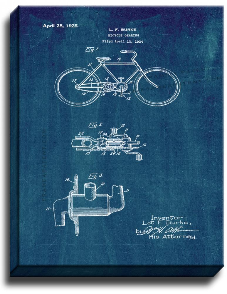 Primary image for Bicycle Gearing Patent Print Midnight Blue on Canvas