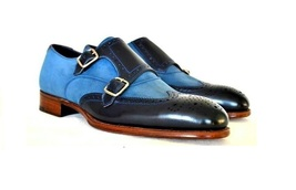 Handmade Men's Wing Tip Brogues Two Tone Blue and Black Double Monk Strap Shoes image 3