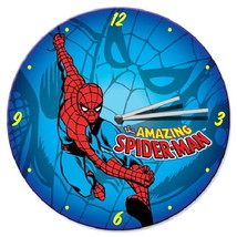 """The Amazing Spider-Man Swinging Cordless Wooden Wall Clock 13.5"""" Wide NE... - $19.34"""