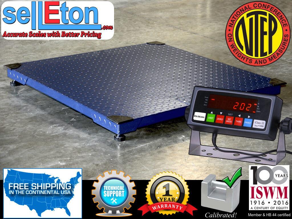 Selleton Ntep Legal Industrial 60 X 60 5 X 5 Floor Scale 2000 X .5 Lb W//Printer