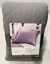 Threshold Euro Gray Quilted Sham Linen Cotton  26 x 26  NEW - $17.51