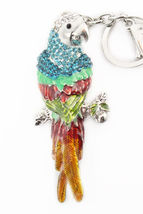 Parrot Multi-Color Keychain Rhinestone Crystal Cute Animal Bird Charm  #... - $18.17