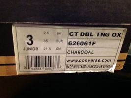 Converse All Star Junior Shoes Size 3 Charcoal CT DBL TNG OX Model 626061F image 12