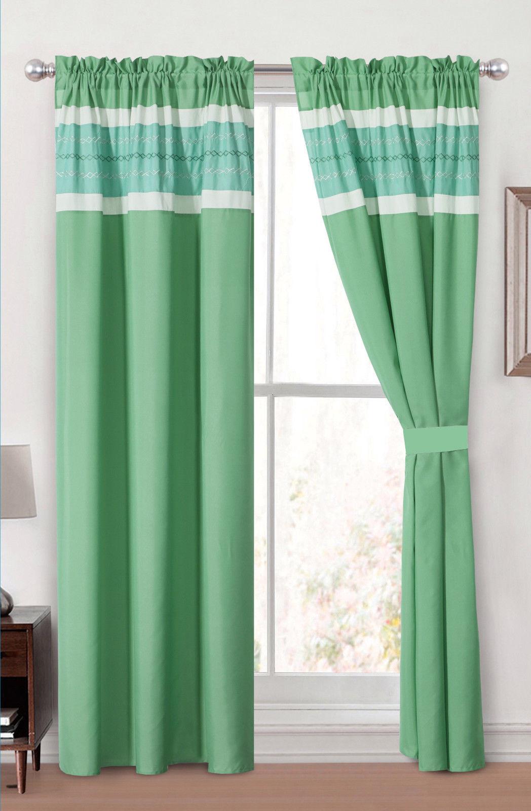 4P Mica Diamond Geometric Embroidery Curtain Set Green Blue Cucumber Sheer Liner - $40.89