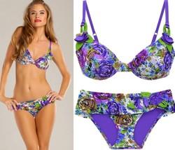 $210 Betsey Johnson Cool Romance Underwire Top S & Bottom L Swimsuit Bikini Set - $121.50