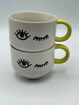 Lot Of 2 Starbucks Wink Coffee Mugs Yellow Handle - $29.69