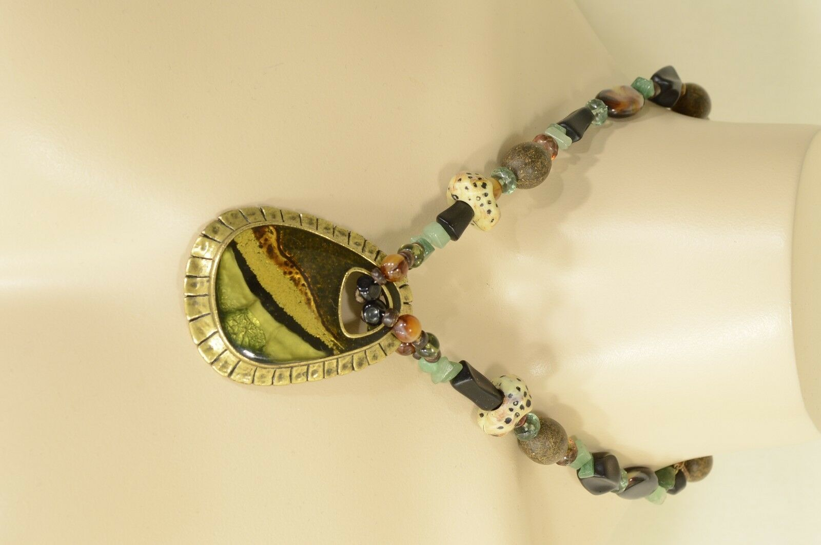 Chico's necklace pendant statement brown aqua silver gold beads stones