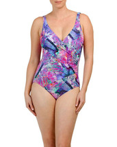 NWT GOTTEX 8 V-neck one-piece swimsuit stained glass wrap draped tummy c... - $62.07