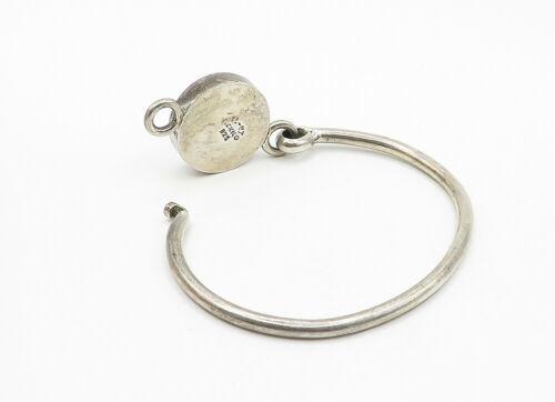 MEXICO 925 Silver - Vintage Turquoise & Multi-Stone Bangle Bracelet - B6265 image 3