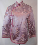 Fei Anthropologie Floral Print Asian Cheongsam Jacket 8 Pink Silky Embro... - $75.23