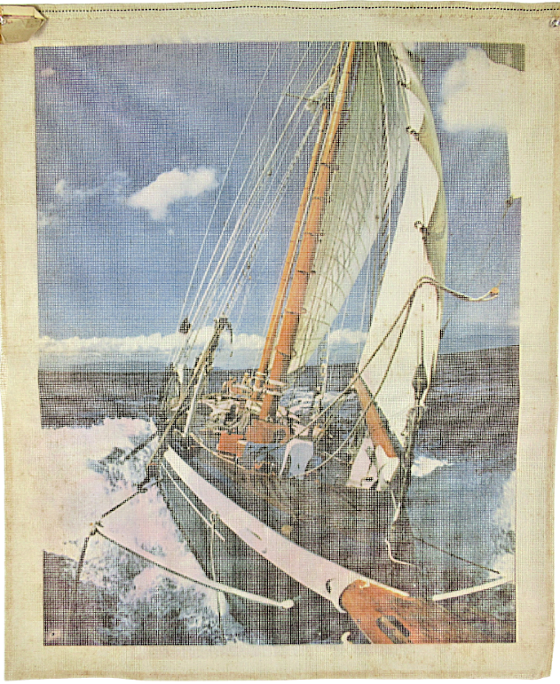 Primary image for 1970's Vintage Needlepoint Large Sailboat Sailing Miracles of the Canvas 24x30