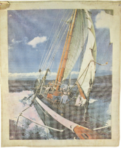 1970's Vintage Needlepoint Large Sailboat Sailing Miracles of the Canvas... - $84.15