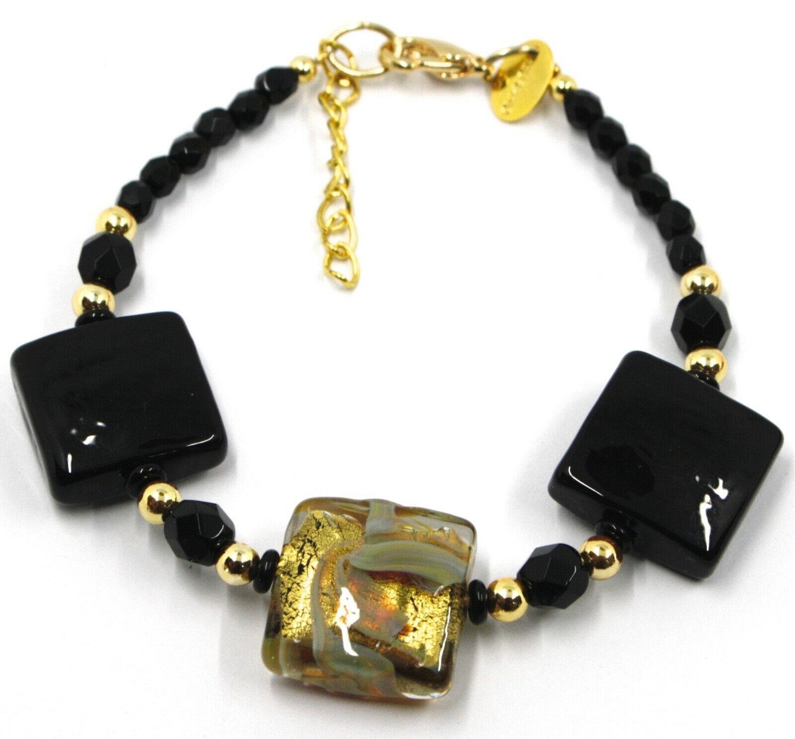 """BRACELET WITH BLACK MURANO SQUARE GLASS & GOLD LEAF, MADE IN ITALY, 19cm, 7.5"""""""
