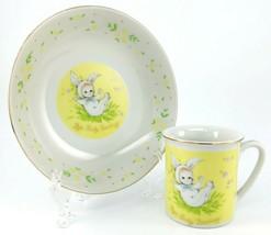 Josef Originals Children Cup Bowl Bye Baby Bunting Rabbit Bunny Porcelai... - $27.95