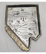 Nevada State Silver Metal Figural Souvenir Tray Points of Interest Vintage - $13.85