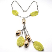 Silver necklace 925, Oval Pink, Jasper Green Wavy, Cluster Pendant image 1