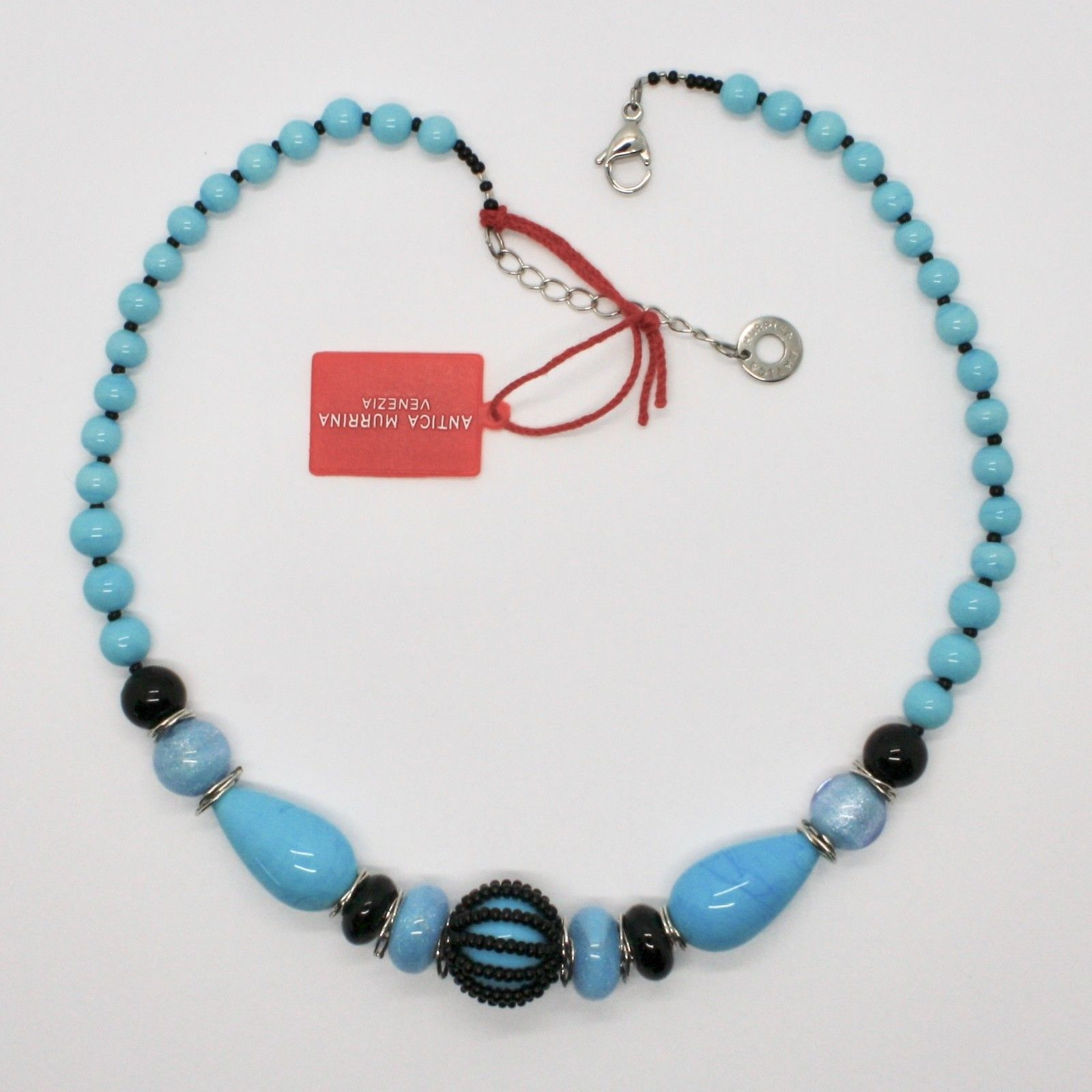 ANTICA MURRINA VENEZIA NECKLACE WITH MURANO GLASS BLACK BLUE TURQUOISE COA07A02