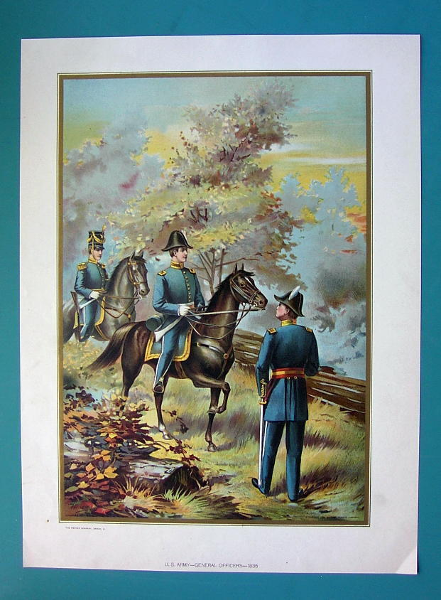 US ARMY in 1835 General Officers on Horses - COLOR Litho Print image 2