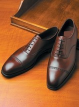 Handmade Men Mahroon Leather Embroidered Oxford Shoes image 1