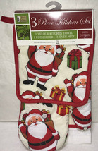 Christmas Kitchen Linen Set Potholder Oven Mitt Towel Winter Santa Claus... - $9.30