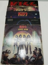 Lot of 5 Vintage KISS Rock Vinyl LP Record Albums With LOVE GUN Alive I II  - £56.88 GBP