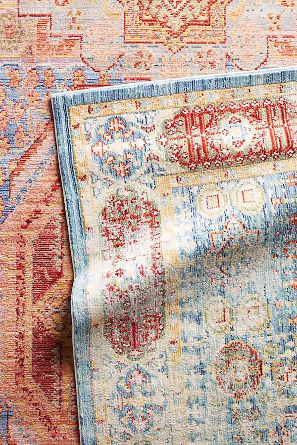 Anthropologie Vintage Antique Overdyed Persian Heriz Style Trudain Rug Blue NEW