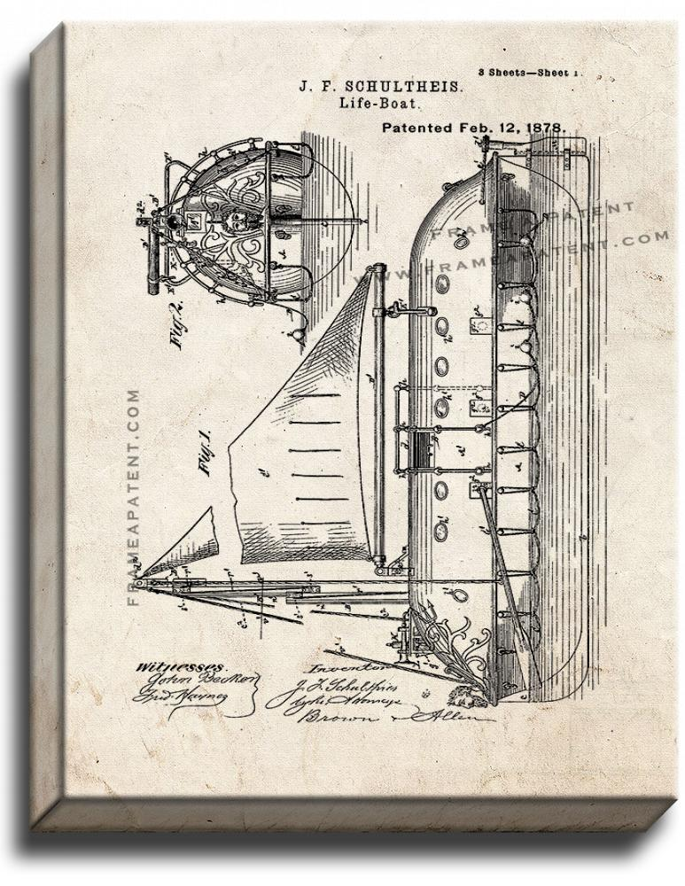 Primary image for LifeBoat Patent Print Old Look on Canvas