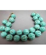 VTG Robin Egg Art Glass Beaded Bracelet Chain S... - $34.64